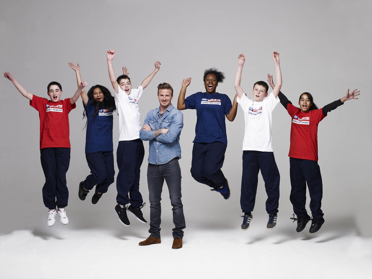 Sky Sports case study image Beckham with kids